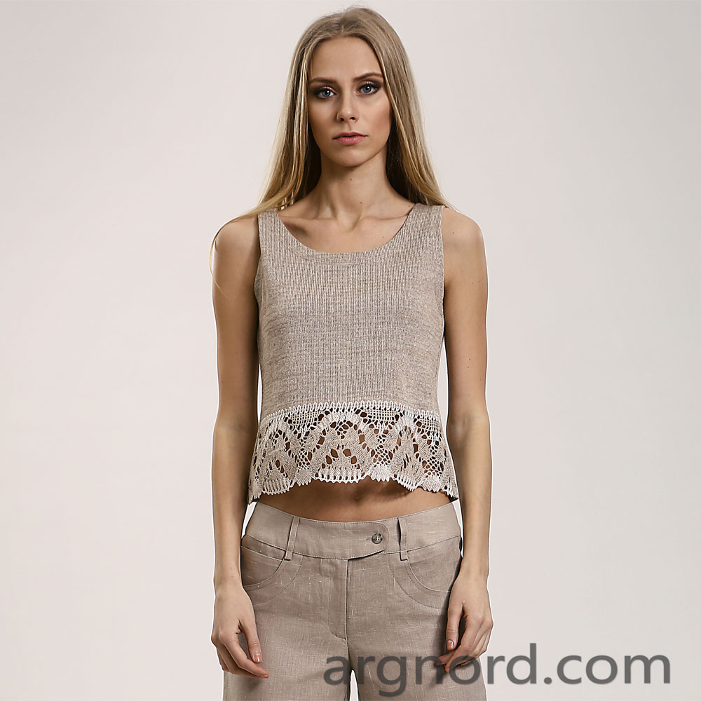 Jumper made of linen with lace | 14098