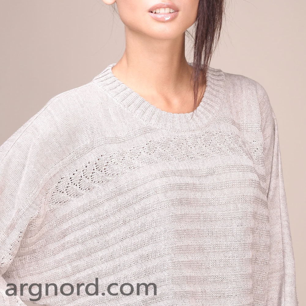Loose fit Linen sweater with long sleeves and round neckline | 11117