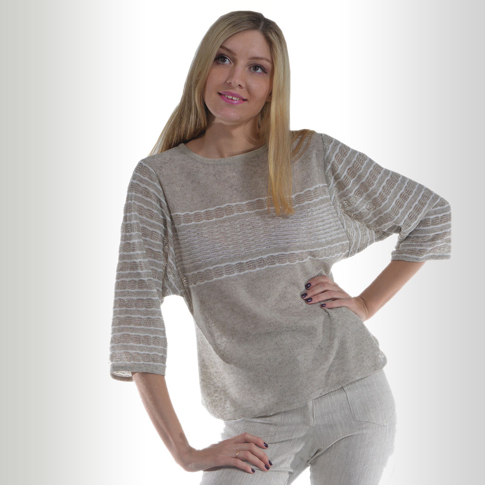 Loose fit Linen Sweater with 3/4 sleeves and openwork decoration | 94-15