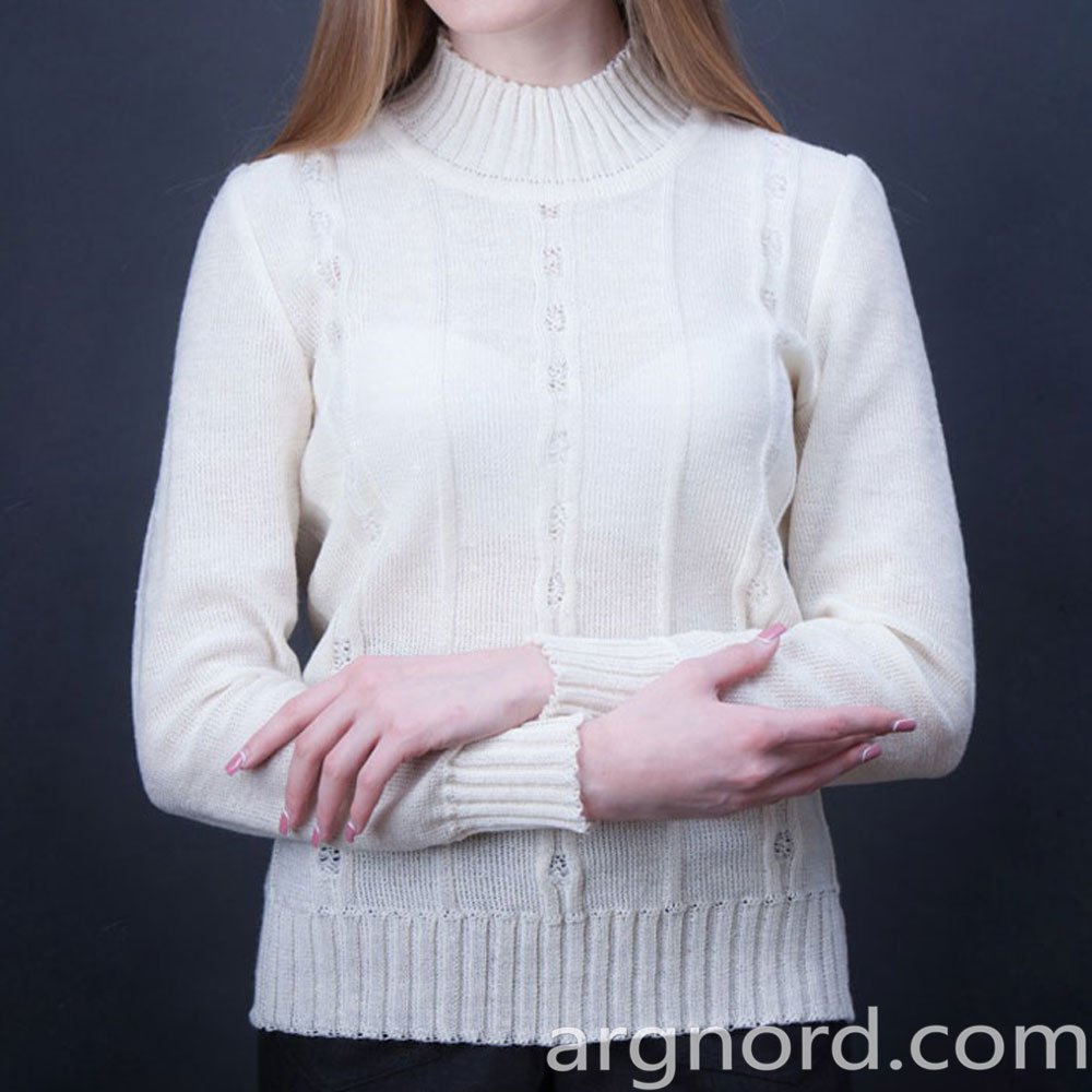White Linen Sweater with long sleeves | 328-15