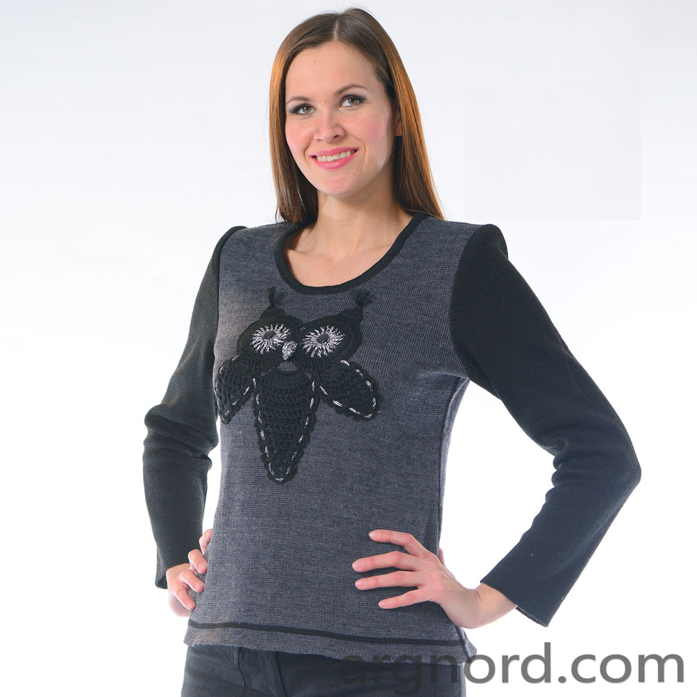 Linen sweater for women with the Owl | 320-13