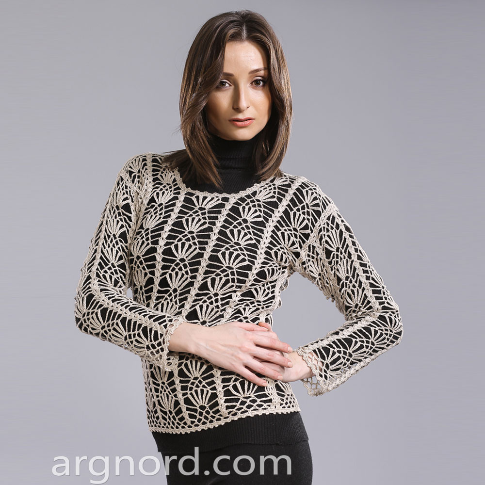 Openwork handmade Linen Sweater with long sleeves | A-256