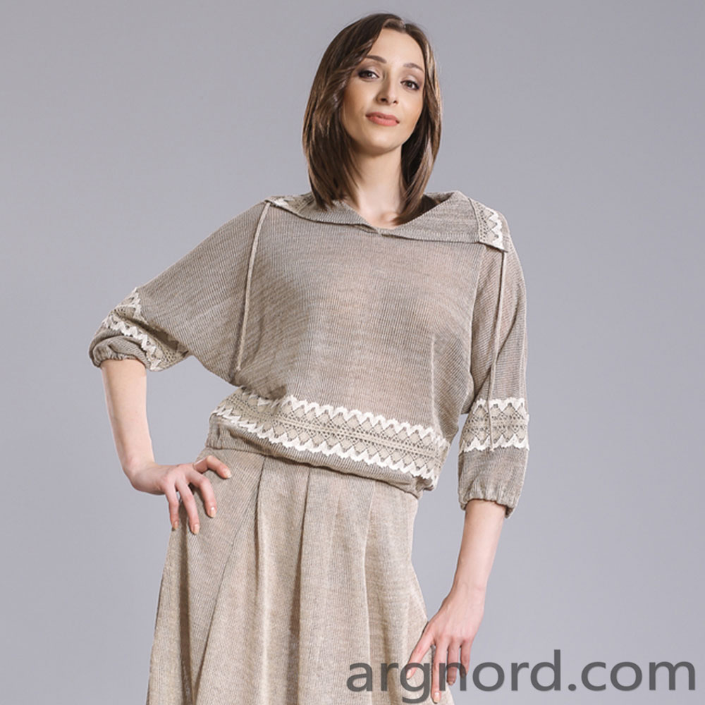 Loose fit Linen Sweater with lace | 15060