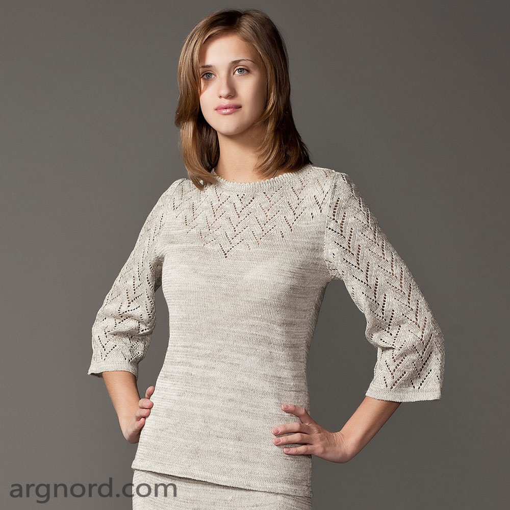 Linen sweater with openwork knit | SN-4-190