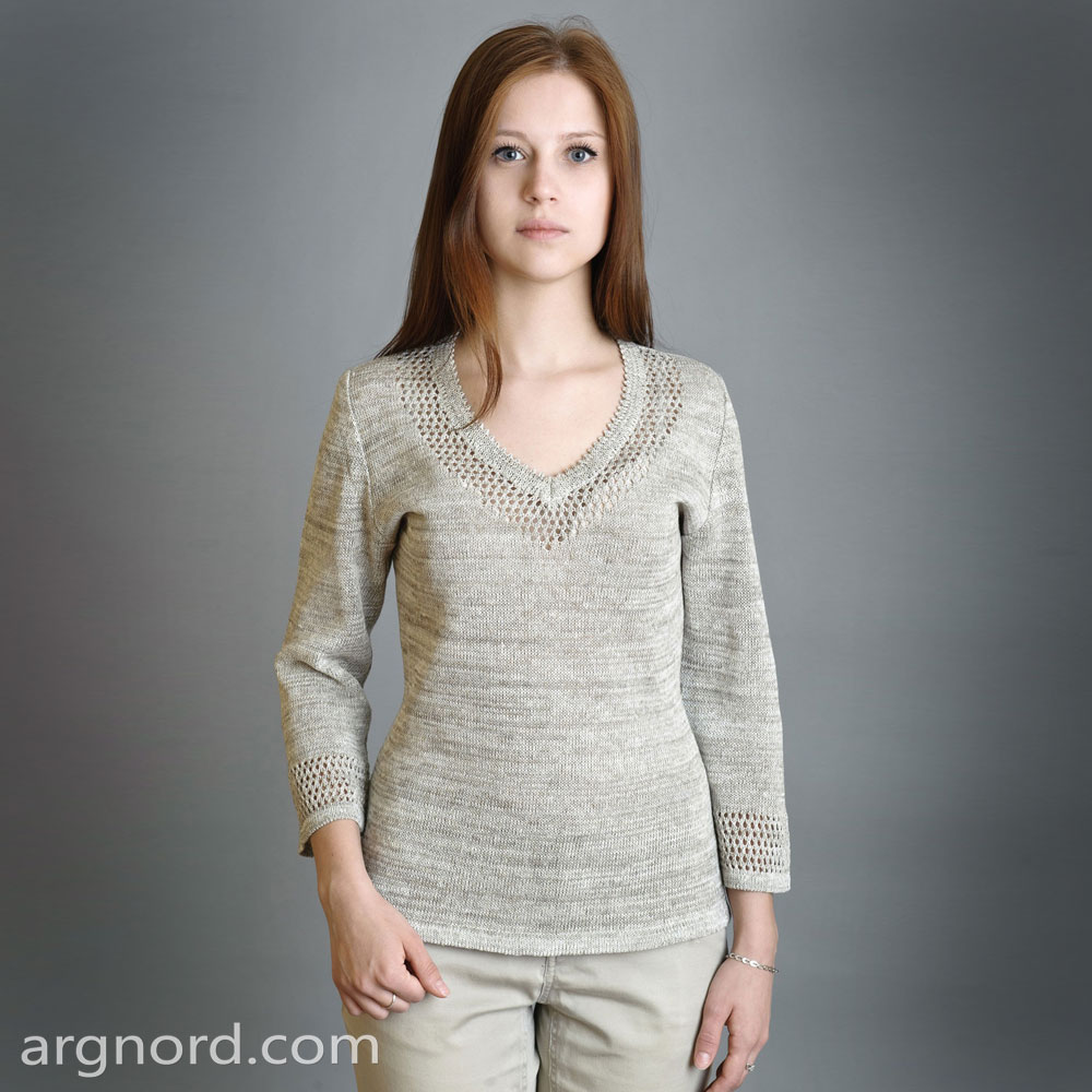 Grey linen sweater with triangular neckline | SN-4-99