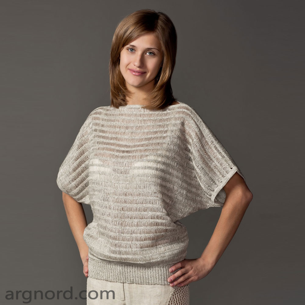 Loose fit linen sweater with horizontal stripe | SN-6-09
