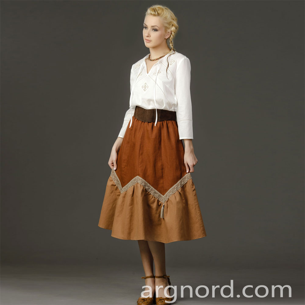 Linen skirt with lace | VKR-1406