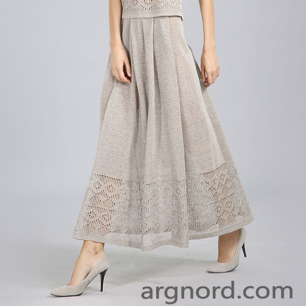 Long linen skirt with openwork knit | 15032