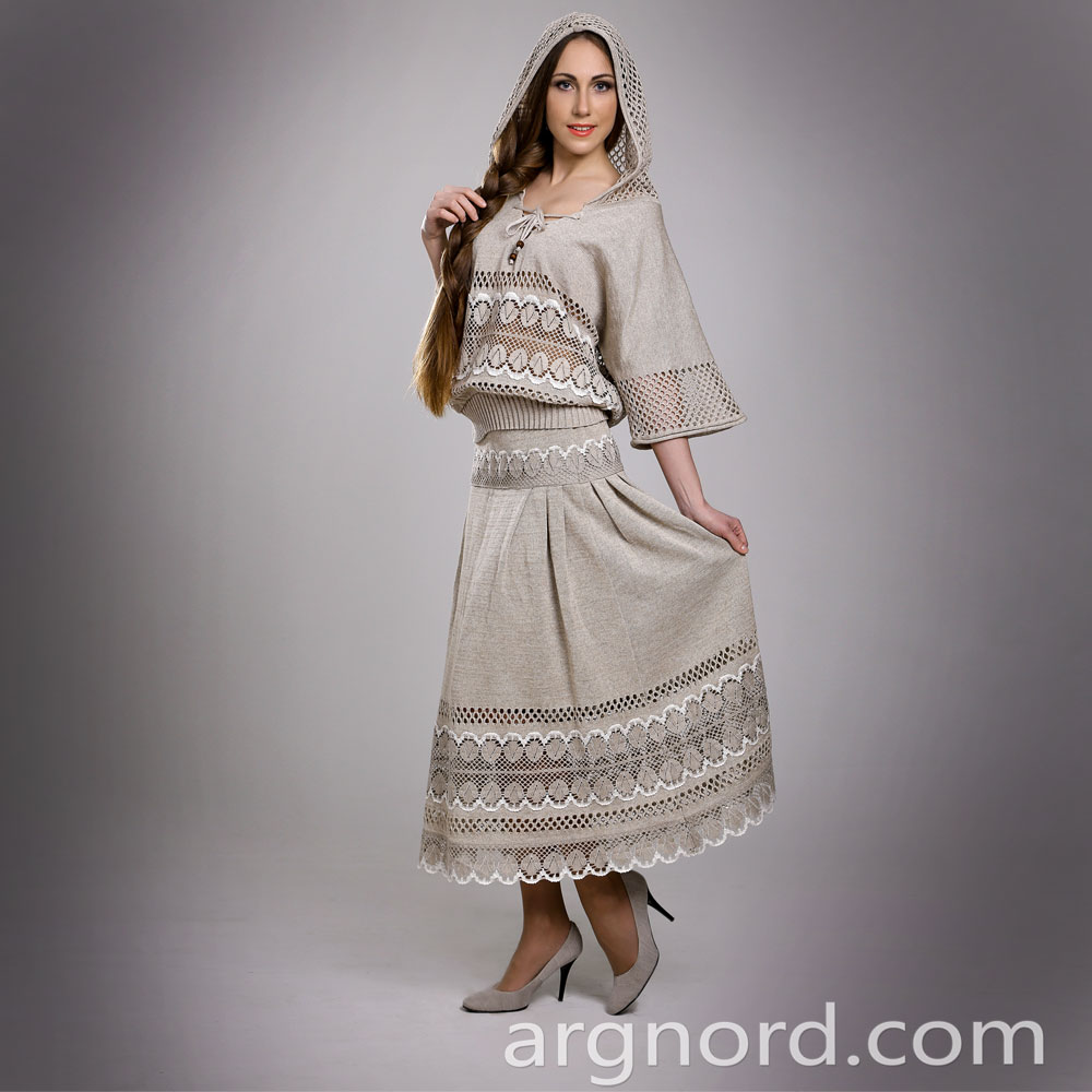 Linen long skirt with lace | 13125