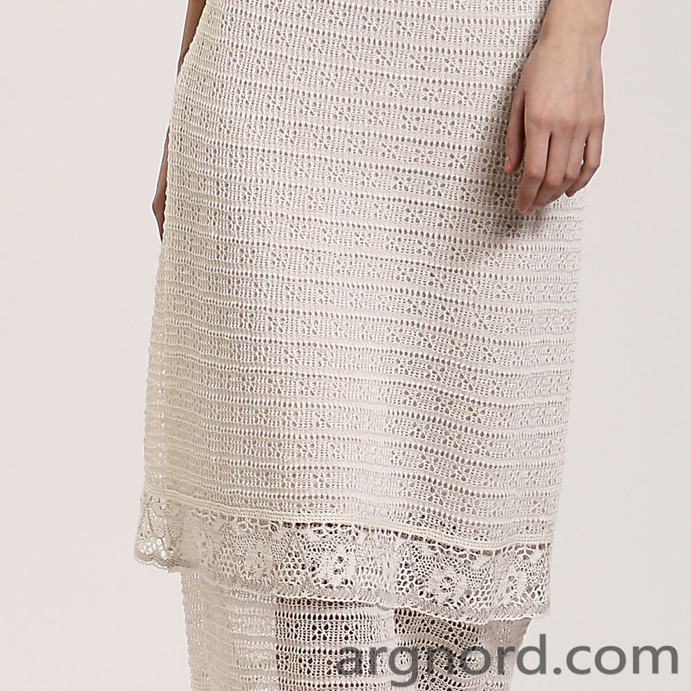 White Linen maxi skirt with openwork knit and lace | 14080