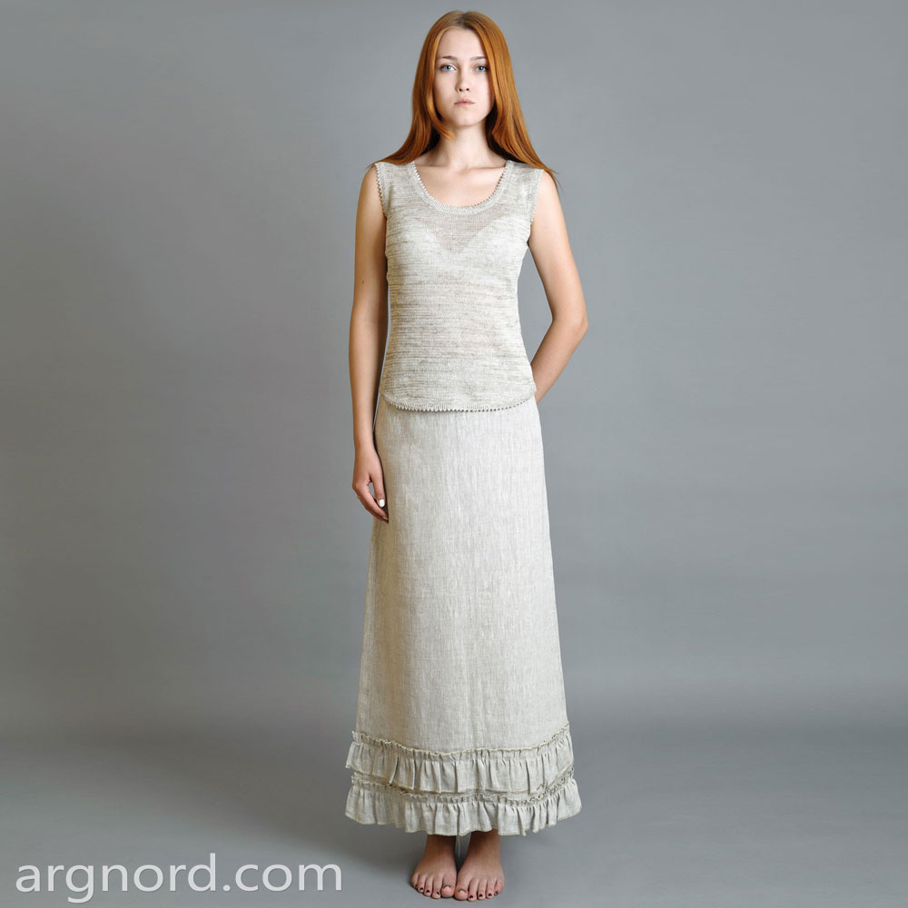 Long linen skirt with decorative ruches | SN-10-74