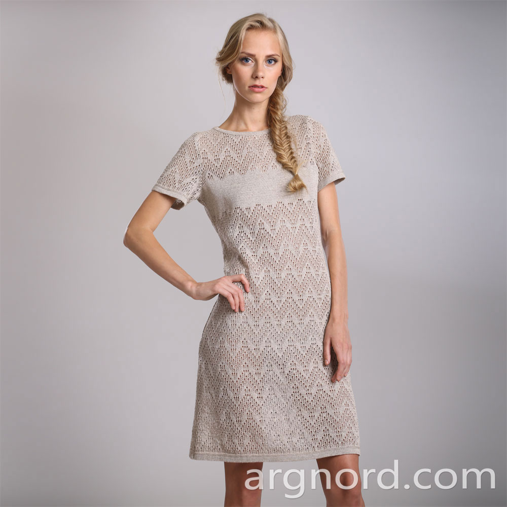 Short linen dress with openwork knite | 14046
