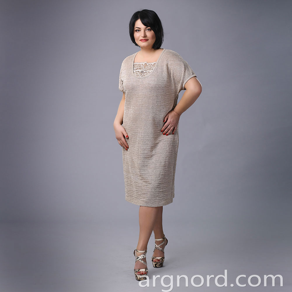 Linen knit dress medium length with lace | 15008