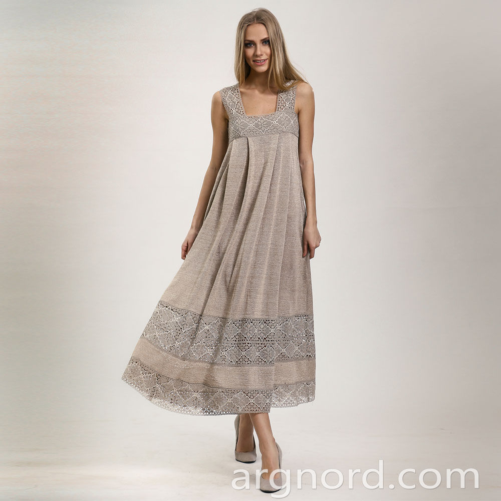 Long linen A-line dress with lace | 14082