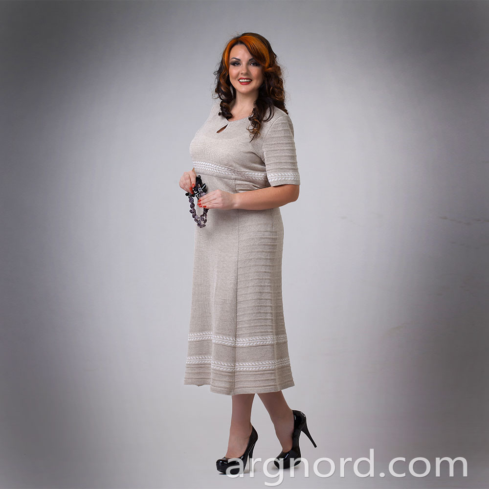 Linen Long dress Plus size with round neckline | 13094