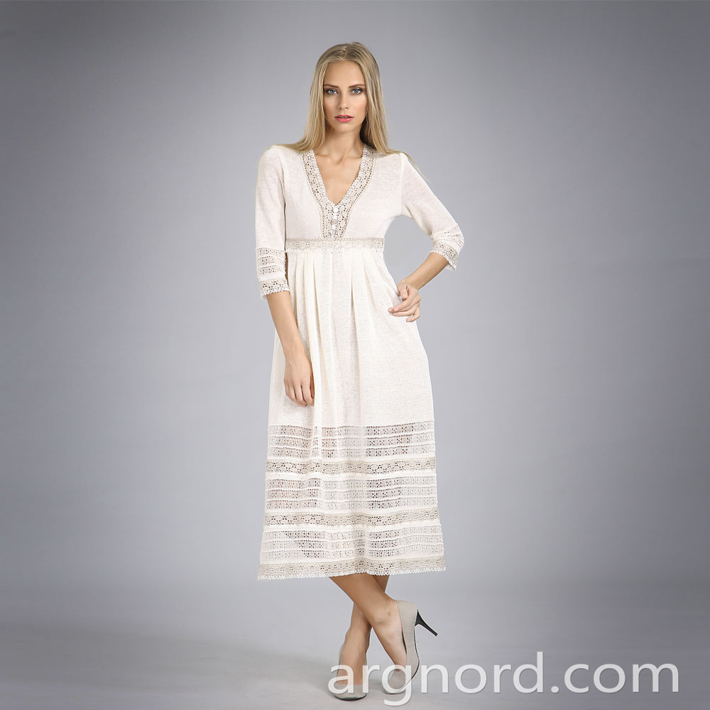 White linen lace dress Long length | 14073