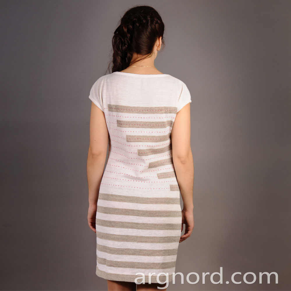 While Linen short dress with grey stripes | 12148