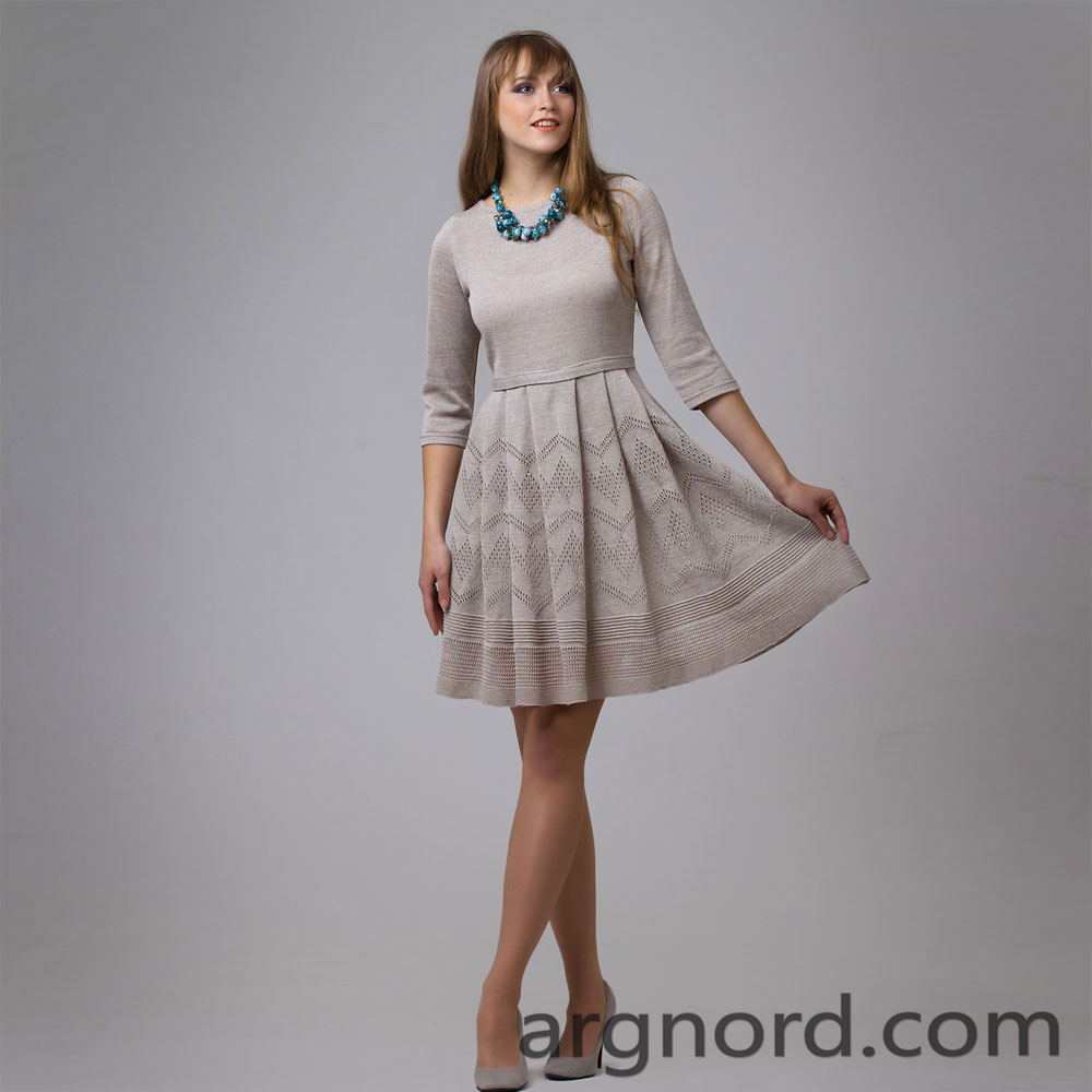 Grey linen dress with belt on the waist | 13086