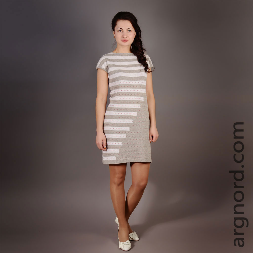 Linen Dress in Stripe with short sleeves | 12153