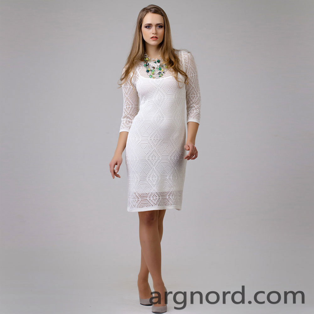 White linen dress with openwork knit and round neckline | 13081