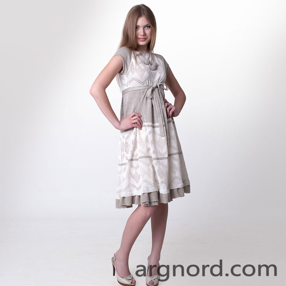 Linen dress with short sleeves and belt | 13021