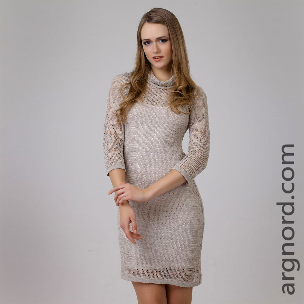 Openwork knit Linen dress short length and 3/4 sleeves | 13080