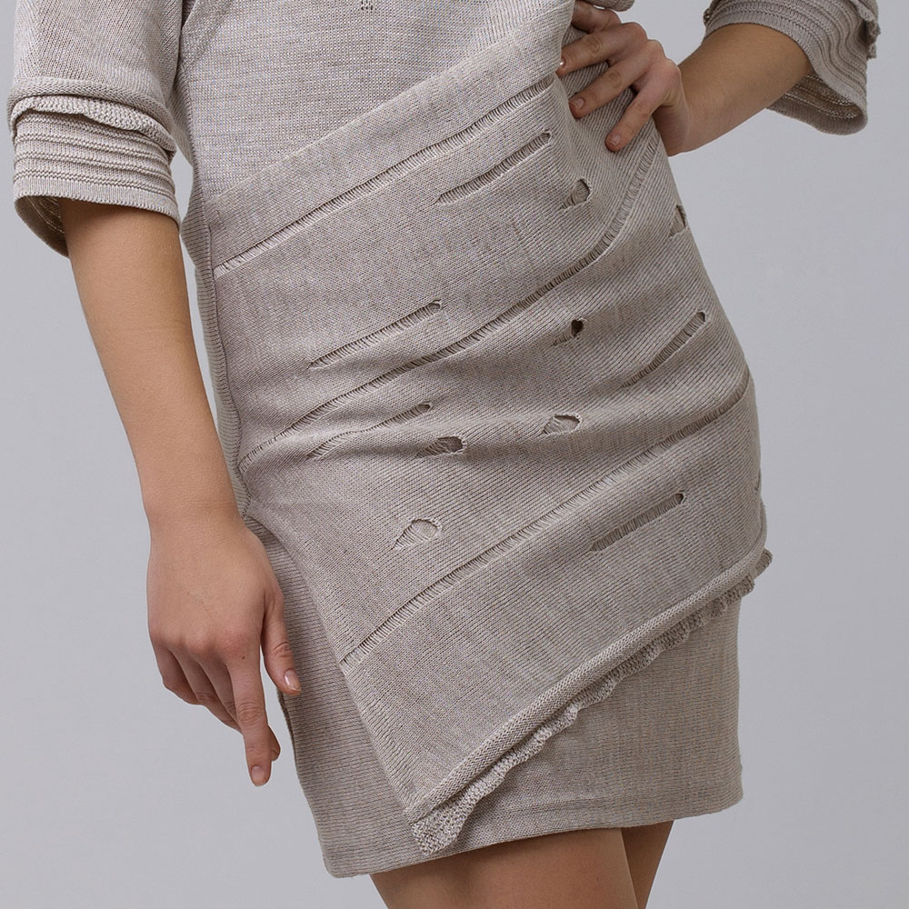 Knit Linen dress with 1/2 sleeves and short length | 13078