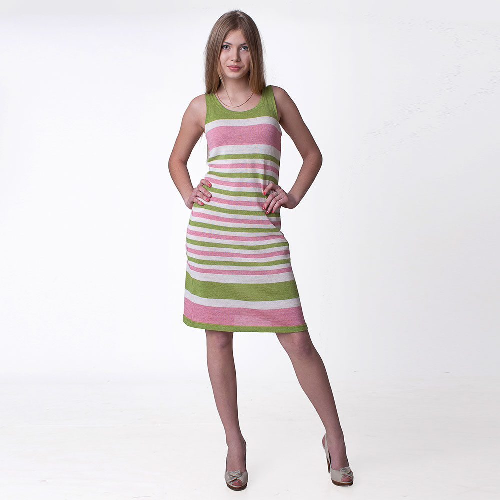 Linen short dress with strips for summer | 13018