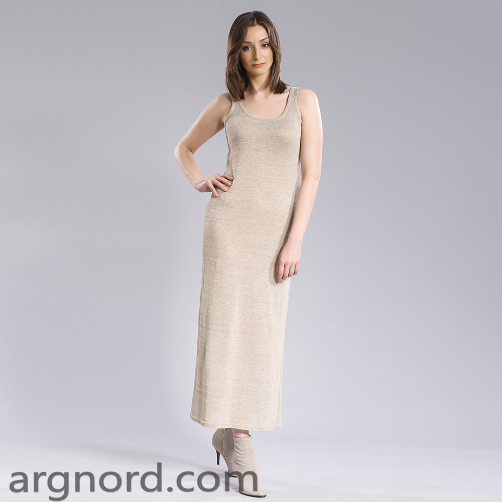 Long linen dress sleeeveless | 15074