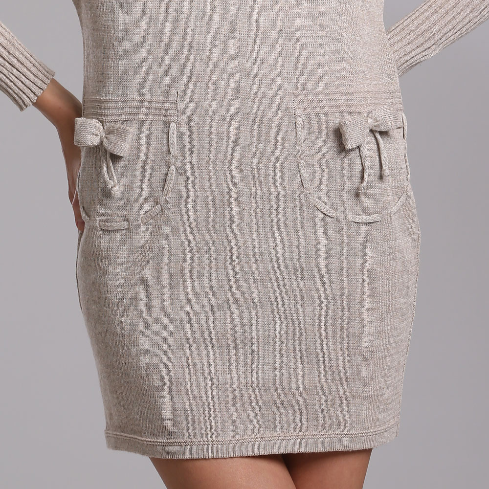 Linen Loose fit Dress with ribbed cuffs and collar | 14037