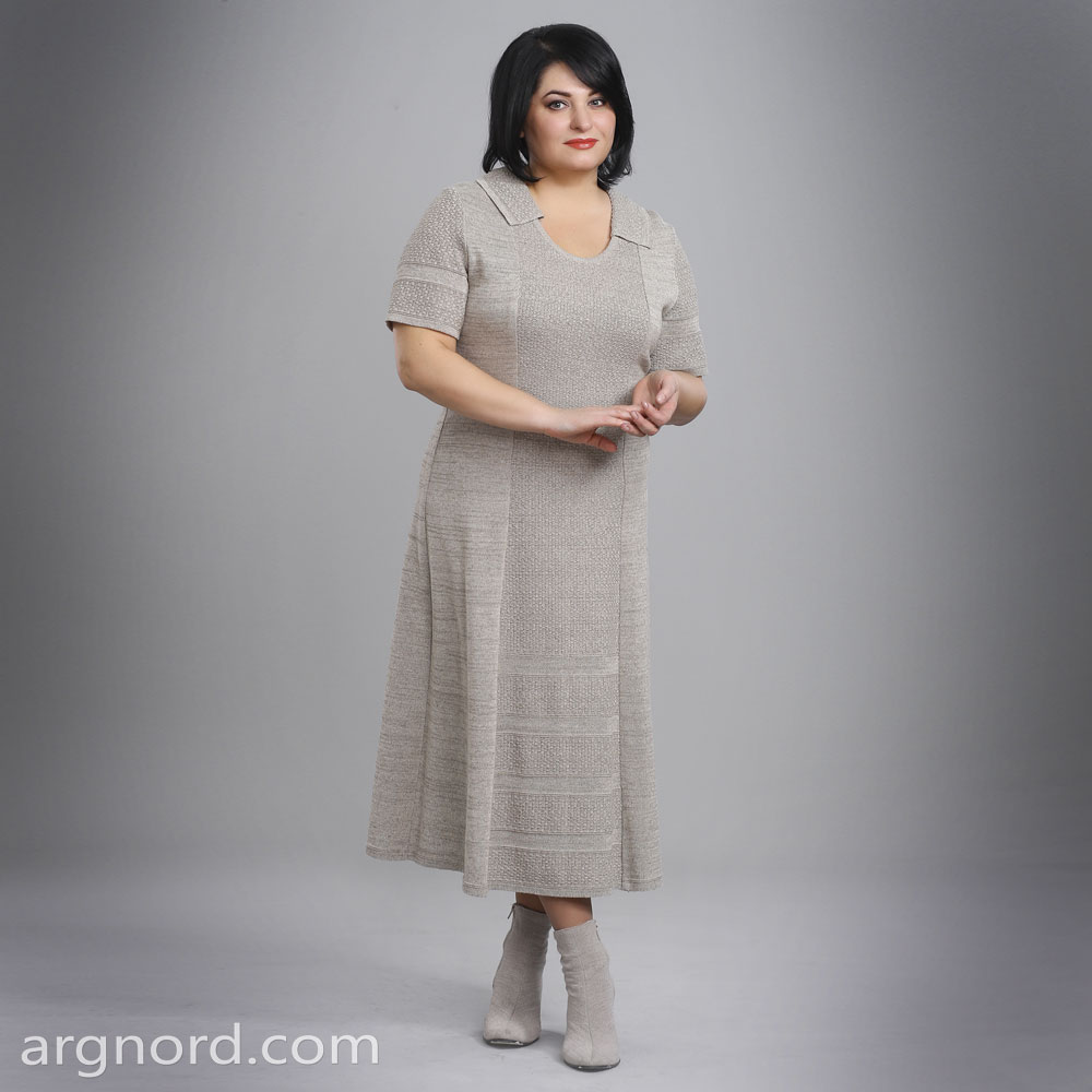 Long Linen dress with short sleeves and a turndown collar | 15068