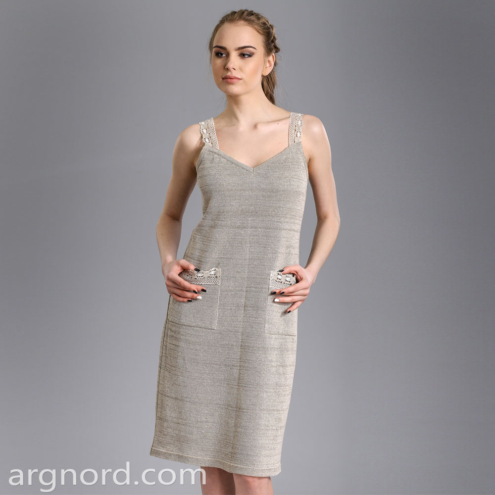 Short linen dress with pockets and lace | 15090