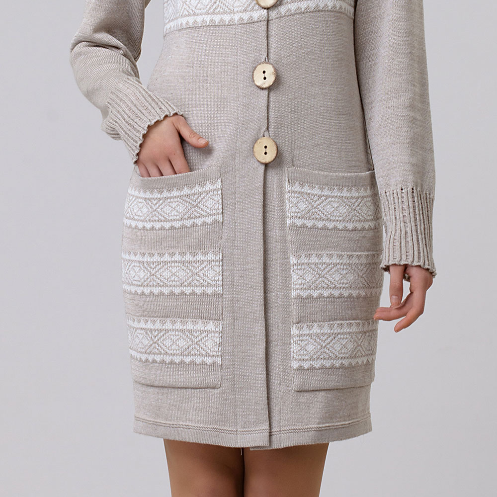 Linen and mixed wool Coat short length with pockets | 13079