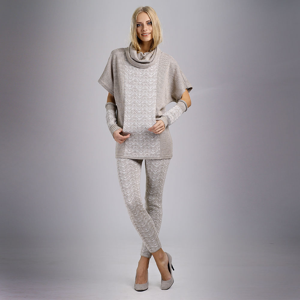 Linen Skinny Trousers with knit pattern   14068