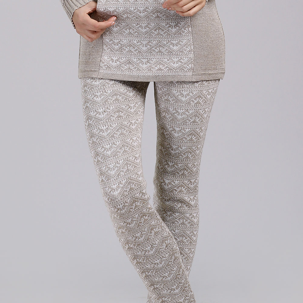 Linen Skinny Trousers with knit pattern | 14068