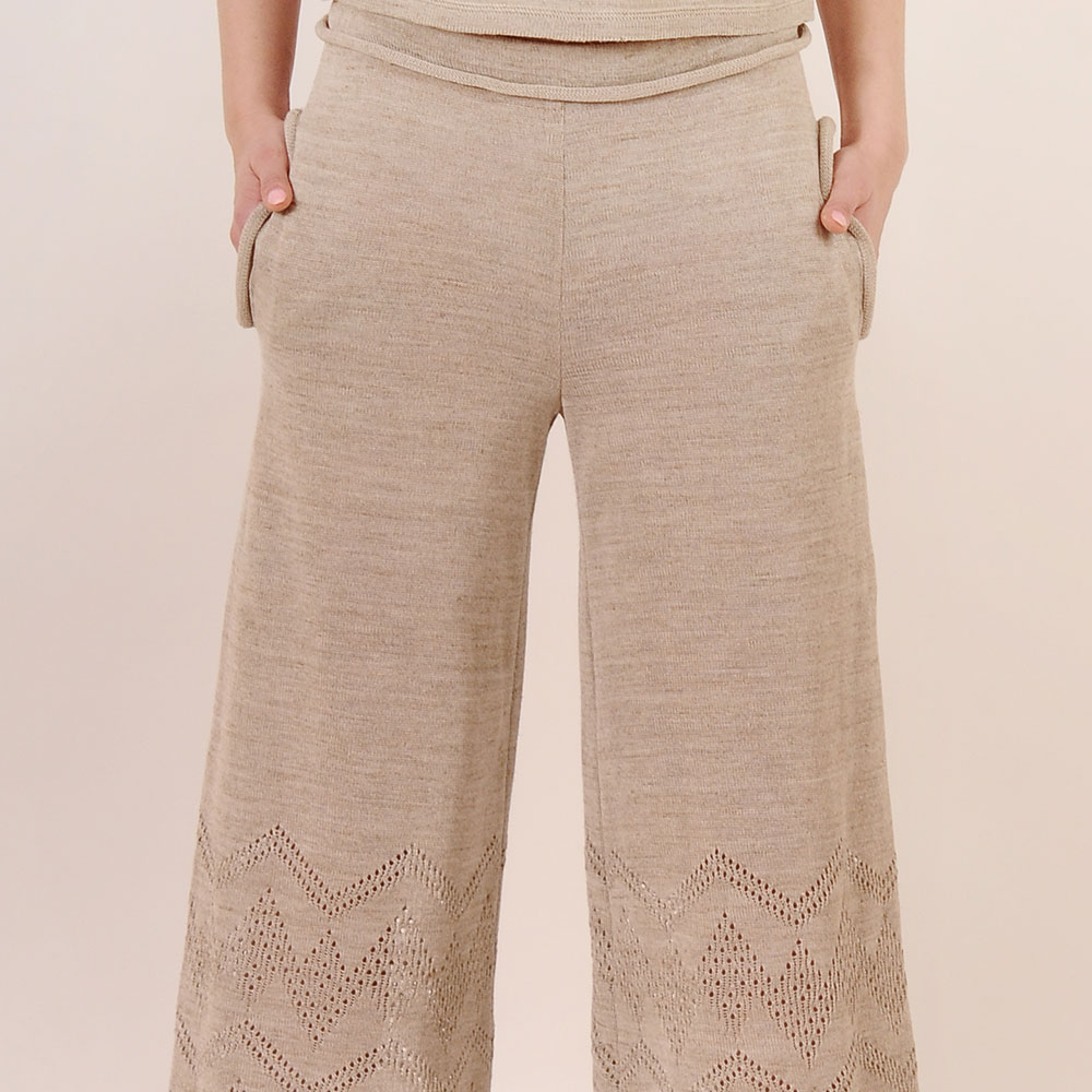 Trousers straight cut with openwork knit and elastic waist | 13104