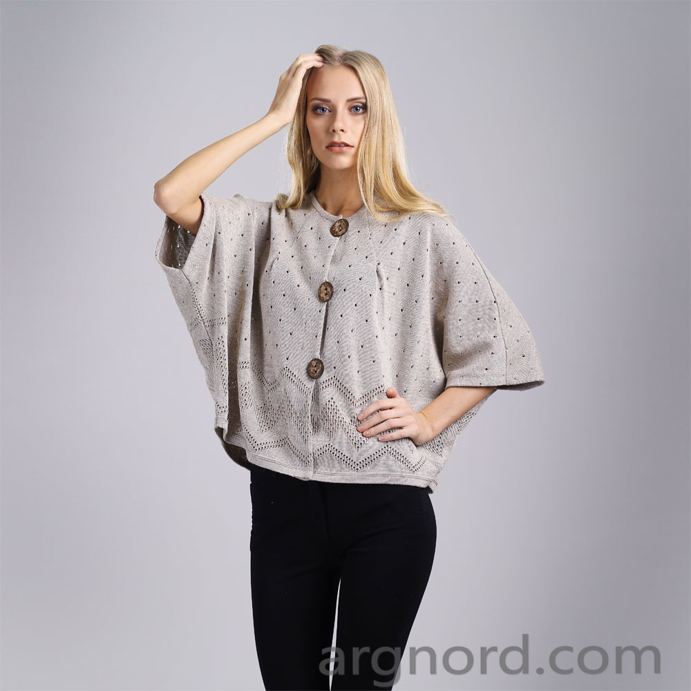 Jacket made of linen with openwork knitting   14058