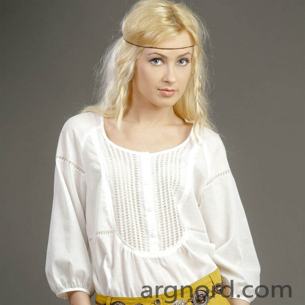Cotton blouse with lace and 3/4 sleeves | RL-3855