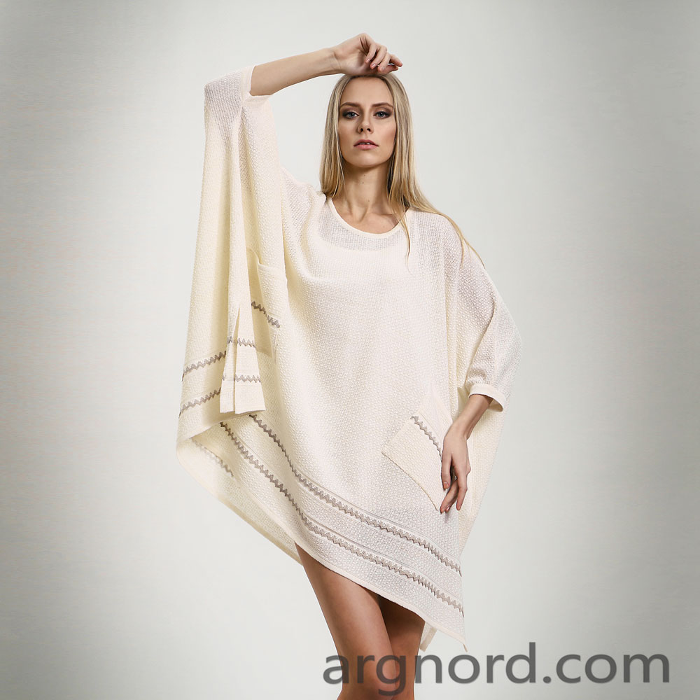 White Linen plus size poncho for women | 14083