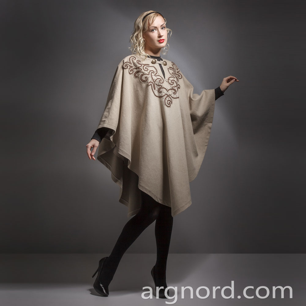 Luxury Plus Size Linen Poncho with lace and button | VKR-1596