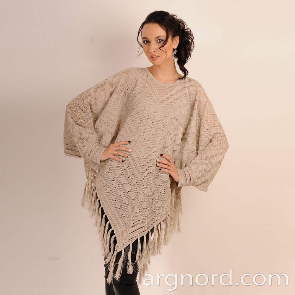 Loose Linen poncho with openwork knit and with strap | 3290