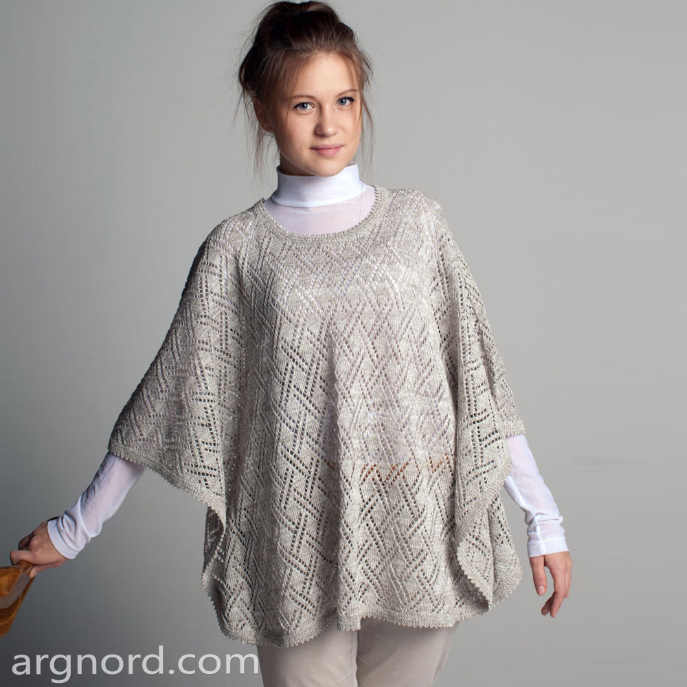 Grey knit poncho with openwork and round neckline | SN-11-13