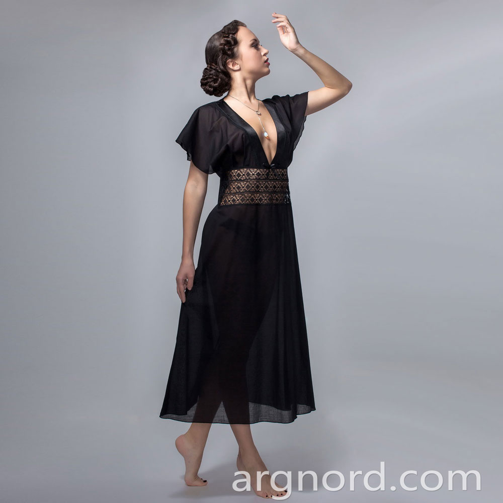 Black Cotton nightdress with lace and satin ribbon | VKR-3609
