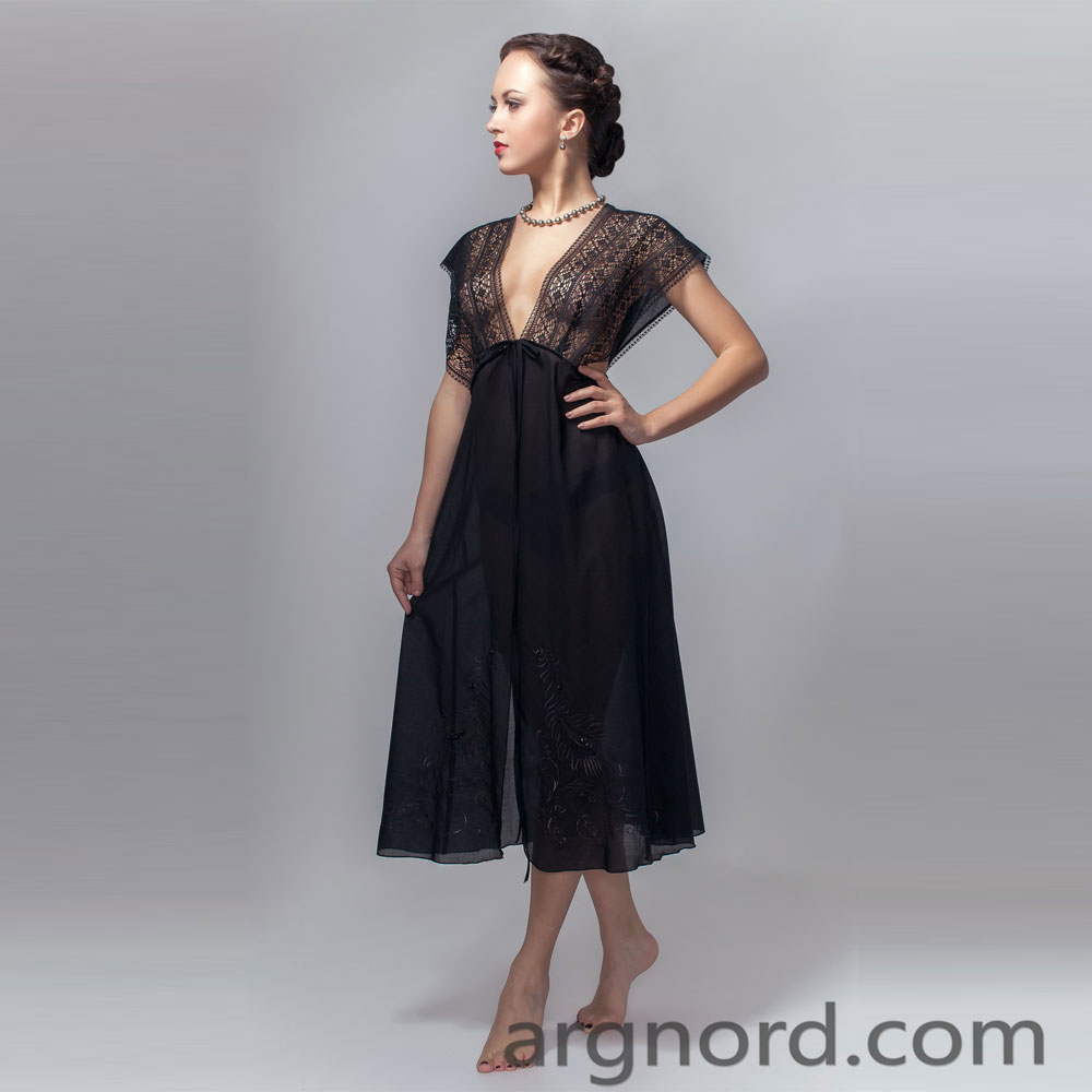 Cotton Black negligee with lace and embroidery | VKR-3599