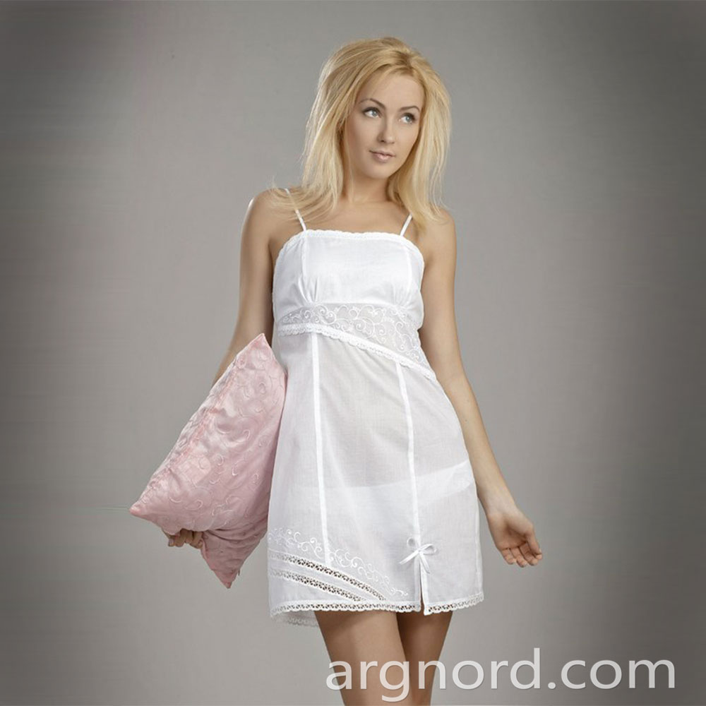 White cotton babydoll with straps | VKR-1794