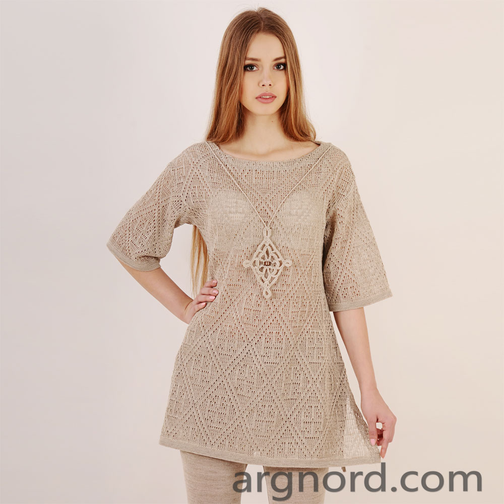 100% linen tunic with knitted decoration | 13120