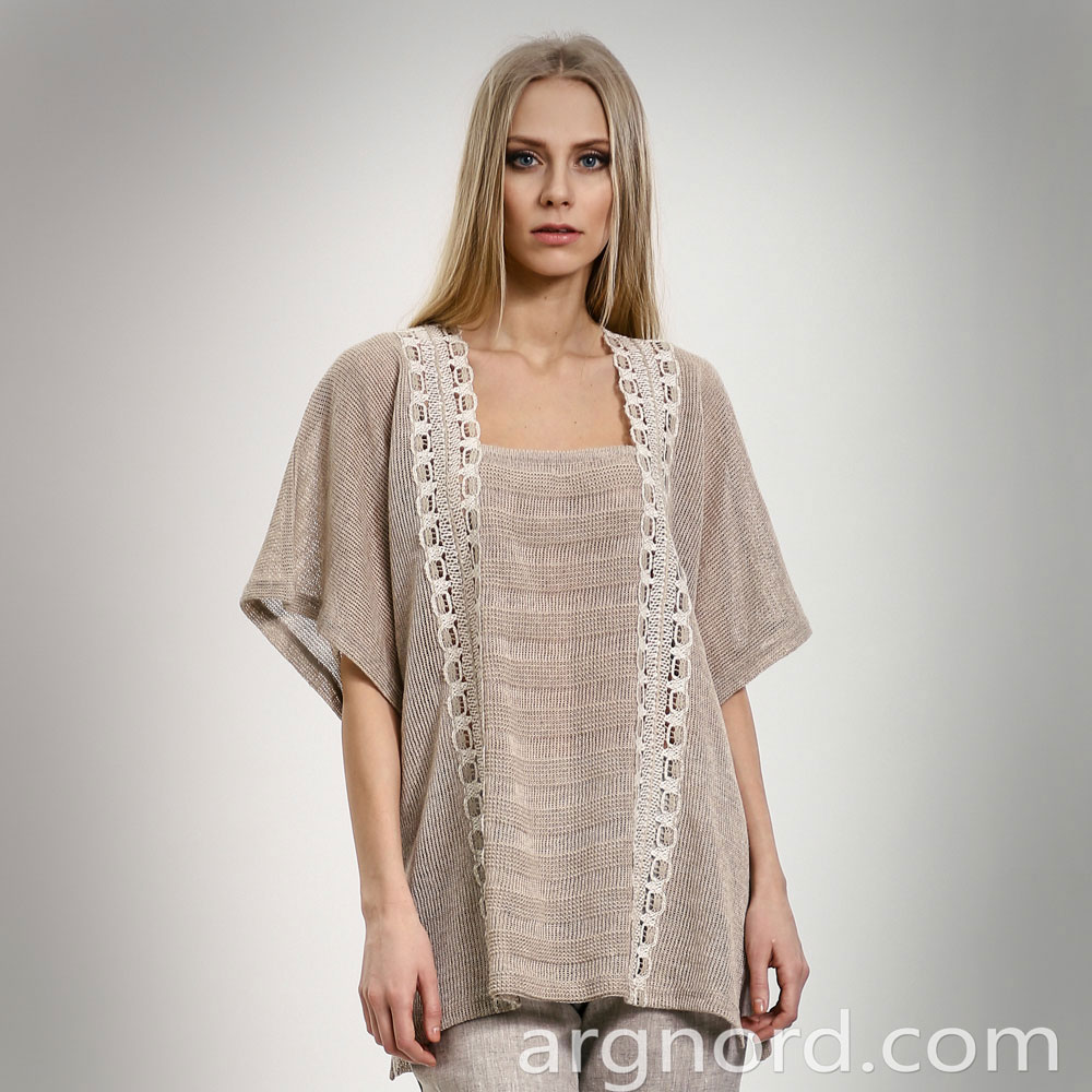 Plus size linen tunic with lace and 1/2 sleeve | 14104