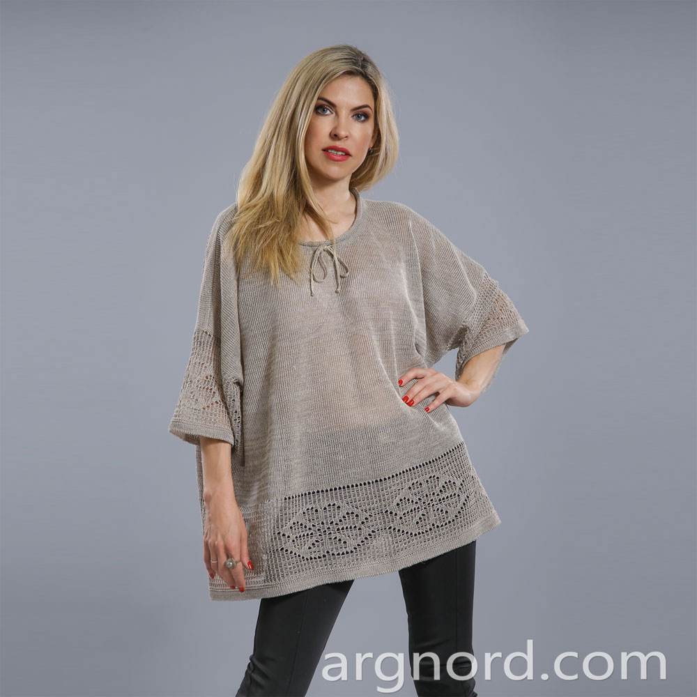 Linen Tunic Plus size with openwork knit | 15016
