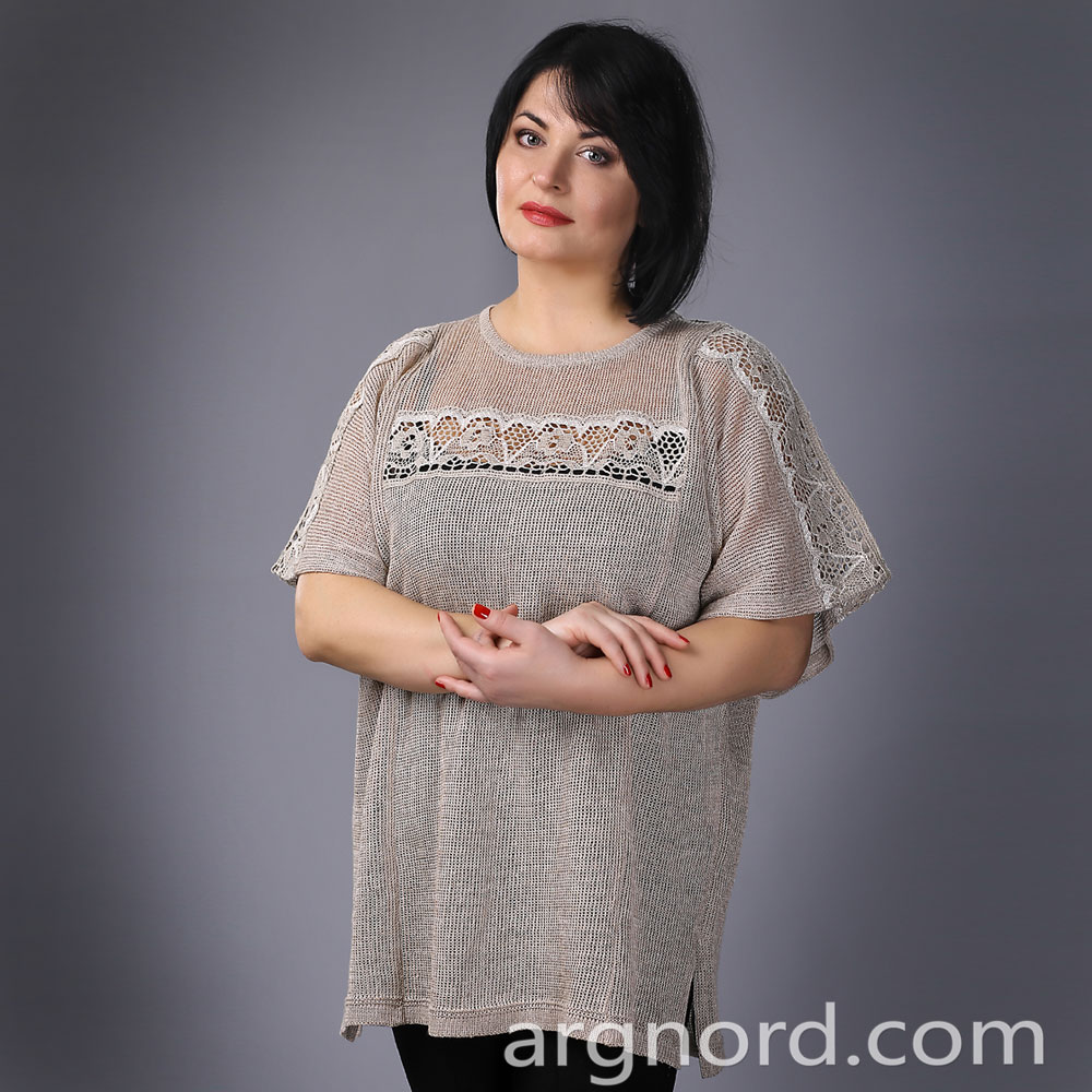 Linen Plus size Women Tunic with lace | 14106