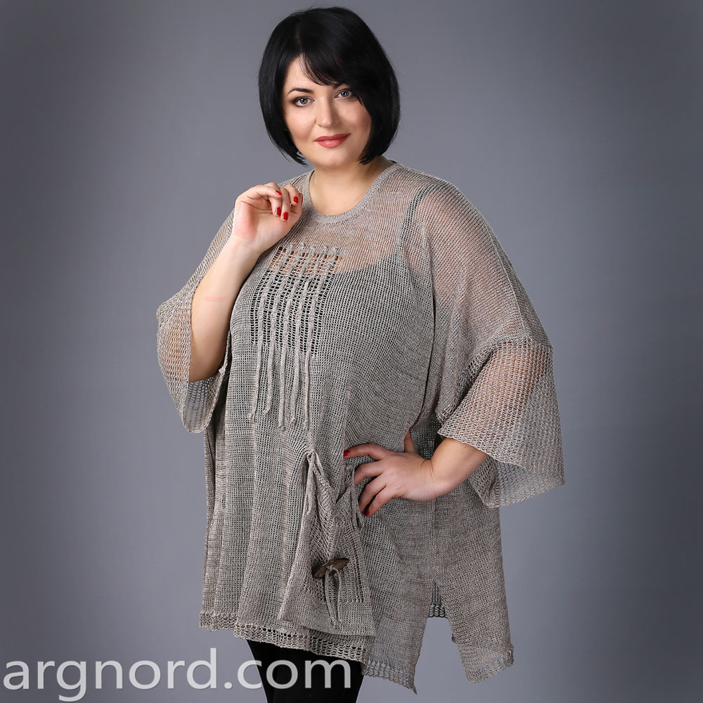 Plus size Tunic with openwork knit and pockets | 2160a